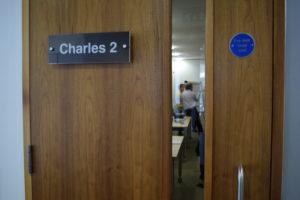 Looking through the door into a meeting room