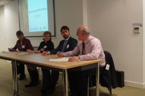 Speakers at the Natural Capital Monitoring breakfast briefing: Prof Rosie Hails, Prof Georgina Mace, Mark Gough, Joe Grice (from left to right)