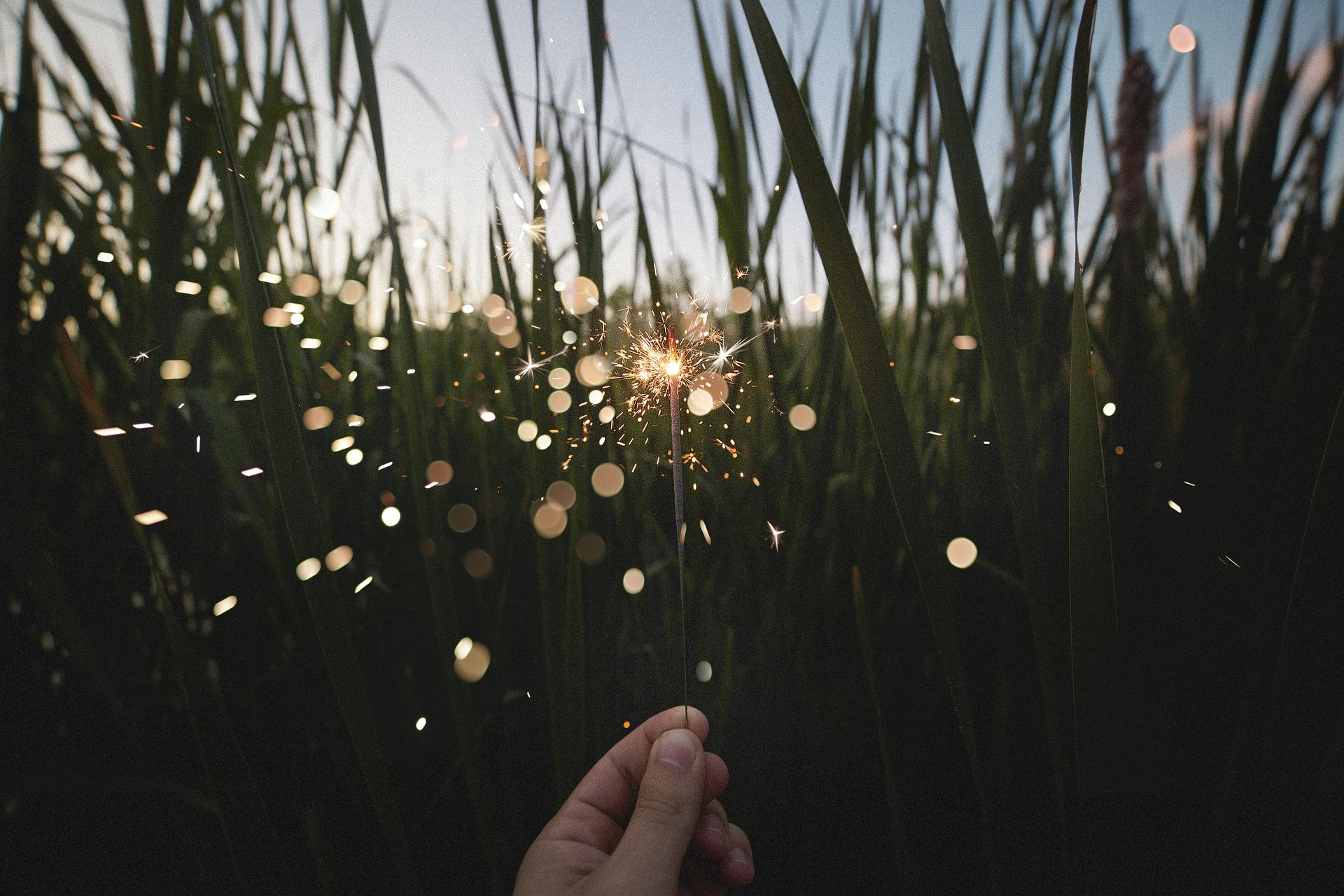 Sparkler on the backdrop of a grassy field