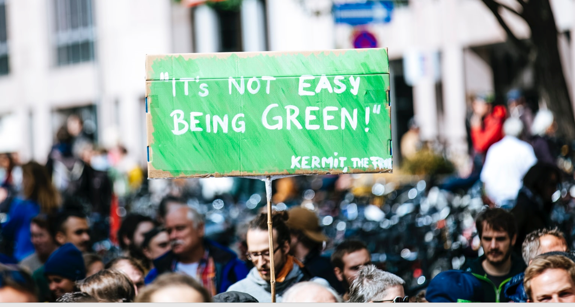 """""""It's not easy being green"""" slogan in an environmental demonstration"""